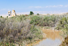 Jordan river Valley near baptism site Stock Image