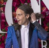 Jordan Roth at 2018 Tony Awards. Producer Jordan Roth lets his hair down as he arrives on the red carpet for the 72nd Annual Tony Awards held at Radio City Music Stock Photography