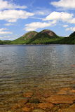 Jordan's Pond and The Bubbles. Jordan's Pond and mountains called The Bubbles located in Acadia National Park Stock Images