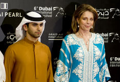 Jordan's Queen Noor, with UAE official. Queen Noor of Jordan, The Jordanian royal is known throughout the world for her humanitarian work, during the red carpet Stock Photos