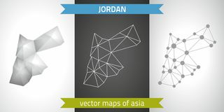 Jordan set of grey and silver mosaic 3d polygonal maps. Graphic vector triangle geometry outline shadow perspective maps. Set of Jordan polygonal mosaic modern Stock Image