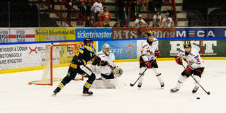 Jordan Smotherman, MODO try to score goal in the Ice hockey match in hockeyallsvenskan between SSK and MODO Stock Images
