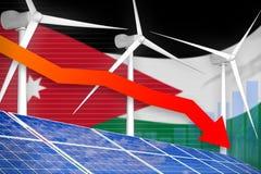 Jordan solar and wind energy lowering chart, arrow down - alternative natural energy industrial illustration. 3D Illustration. Jordan solar and wind energy stock illustration