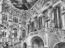 Jordan Staircase del palacio del invierno, museo de ermita, animal doméstico del St Imágenes de archivo libres de regalías