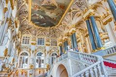 Jordan Staircase del palacio del invierno, museo de ermita, animal doméstico del St Foto de archivo