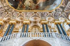 Jordan Staircase do palácio do inverno, museu de eremitério, animal de estimação do St imagens de stock royalty free