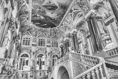 Jordan Staircase of the Winter Palace, Hermitage Museum, St. Pet. ST. PETERSBURG, RUSSIA - AUGUST 27: Jordan Staircase of the Winter Palace, one of the main Royalty Free Stock Images