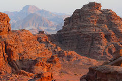 Jordan: Sunset in Wadi rum. Magnificent view in Wadi Rum desert in Jordan at the time of sunset. Sculptured mountains and red color at the time of last ray of royalty free stock images