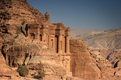 Jordan: Tomb in Petra. Tomb called The Monastery in Petra, Jordan royalty free stock photography