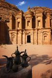 Jordan: Tomb in Petra. Monastary, one of the tombs in the ancient city of Petra in Jordan. It is a long way to climb up to this site but truly worth it Royalty Free Stock Images