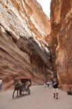 jordan Vaggar Vägen till den forntida staden Petre Arkivfoto