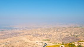 JORDAN VALLEY 1. Beautiful but harsh , that is how this valley looks, .. From this place Moses took his people on a long journey Royalty Free Stock Photo