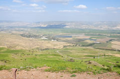 Jordan Valley och havet av Galilee Arkivbilder