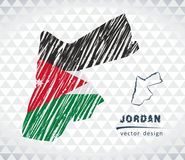 Jordan vector map with flag inside isolated on a white background. Sketch chalk hand drawn illustration. Vector sketch map of Jordan with flag, hand drawn chalk Royalty Free Stock Photography