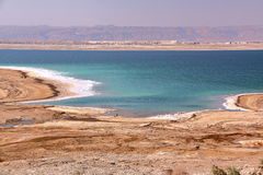 JORDAN: View over the Dead Sea with mountains from Israel in the background Royalty Free Stock Photo