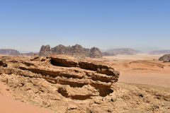 Jordan, Wadi Rum, Desert Landscape. Jordan, Wadi Rum, arid landscape in the UNESCO World heritage site in Middle East royalty free stock images