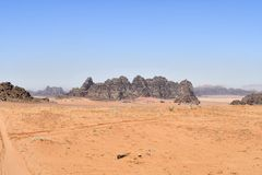 Jordan, Wadi Rum, Desert Landscape. In the UNESCO World heritage site in Middle East royalty free stock image