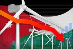 Jordan wind energy power lowering chart, arrow down - modern natural energy industrial illustration. 3D Illustration. Jordan wind energy power lowering chart royalty free illustration