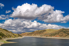 Jordanelle Reservoir in Utah, United States. Scenic overhead view of the Jordanelle Reservoir in Utah, United States royalty free stock photography