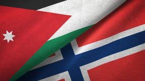 Jordanië en Noorwegen twee vlaggen textieldoek, stoffentextuur vector illustratie