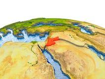 Jordanië op model van Aarde Stock Foto