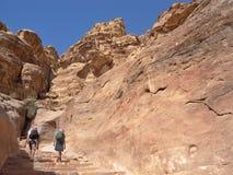 Jordanië - Petra, bergop aan Klooster royalty-vrije stock fotografie