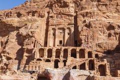 Jordanië, Petra, Koninklijke graven stock foto