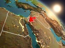 Jordanië van ruimte tijdens zonsopgang Royalty-vrije Stock Fotografie