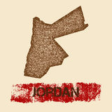 Jordanië verontruste kaart Royalty-vrije Stock Foto's