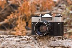 Jordania, Amman, 08/10/2017 Stary ekranowy kamery SLR zenit z obiektywem Helios-44M na gałąź w lesie Obrazy Stock