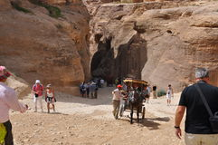 Jordania Skały Droga antyczny miasto Petre zdjęcie stock