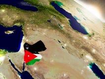 Jordania z flaga w powstającym słońcu Zdjęcia Royalty Free