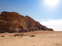 Jordanian desert in Wadi Rum Royalty Free Stock Photography