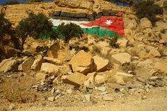 Jordanian flag paint stock photo