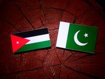 Jordanian flag with Pakistan flag on a tree stump isolated. Jordanian flag with Pakistan flag on a tree stump stock illustration