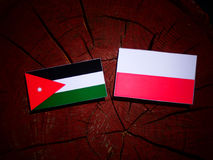 Jordanian flag with Polish flag on a tree stump isolated. Jordanian flag with Polish flag on a tree stump royalty free illustration