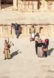 Jordanian man playing bagpipes Stock Photos