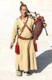 Jordanian man playing bagpipes Stock Image