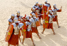 Jordanian men dress as Roman soldier Stock Photos