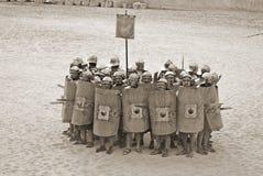 Jordanian men dress as Roman soldier Stock Photo