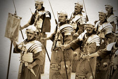 Jordanian men dress as Roman soldier Stock Images