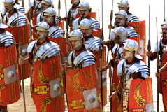 Jordanian men dress as Roman soldier Royalty Free Stock Images