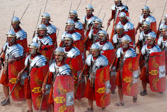 Jordanian men dress as Roman soldier Stock Image