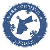Jordanienöversikt Glad jul Jordan Stamp för tappning Arkivfoto