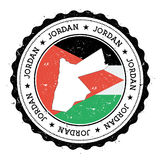 Jordanienöversikt och flagga i den rubber stämpeln för tappning av Royaltyfria Foton