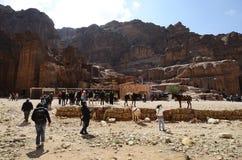 Jordanien Mellanösten, forntida Petra fotografering för bildbyråer