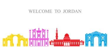 Jordanienuppsättning Isolerad Jordanienarkitektur på vit bakgrund vektor illustrationer