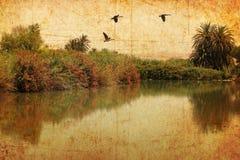 Jordanier River Valley Tappningbild Royaltyfria Foton