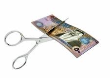 jordanische Währung 3D mit Scheren stock abbildung