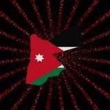 Jordanowska mapy flaga na czerwonej hex kodu wybuchu ilustraci ilustracja wektor